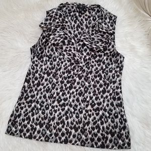 Ann Taylor Leopard Print Ruffle Blouse 6P